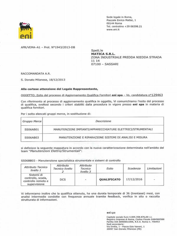 Certificato ENI Matica